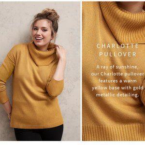 JEANSWEST Metallic Gold Turtleneck Sweater NWT